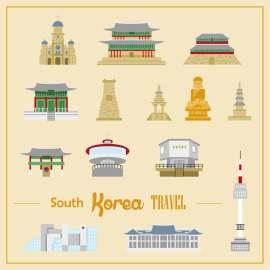 韩国旅游lowpoly设计