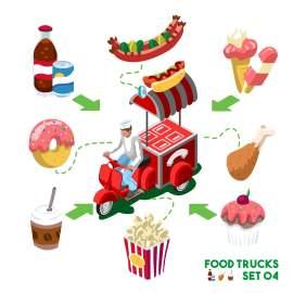卡通 立体 小吃车 小吃 美食 可乐 热狗 冰淇淋 蛋糕 爆米花 咖啡 可爱插图 扁平化