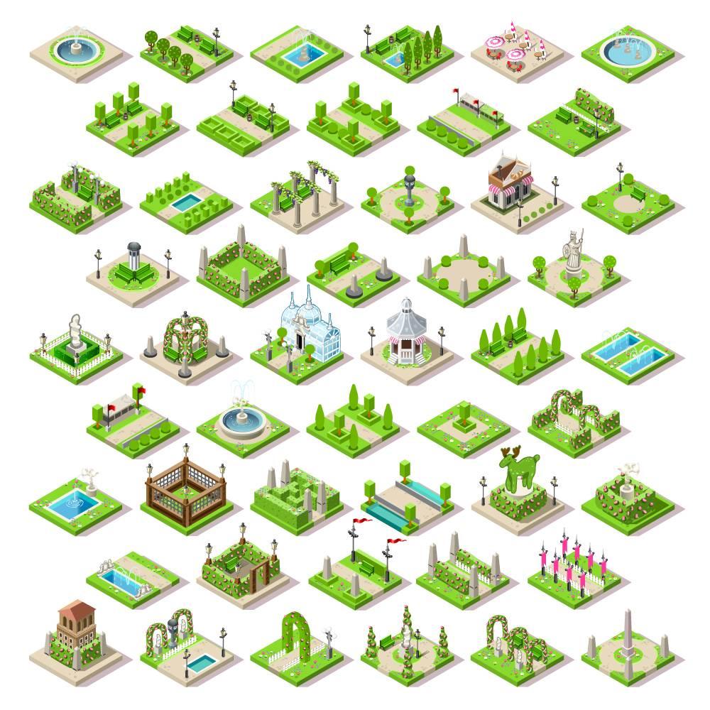 3D 卡通城市 建筑设计 立体模型 街景 等距视图