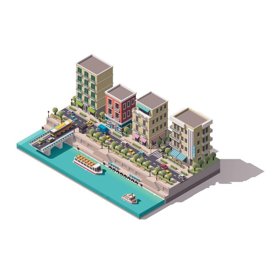 卡通建筑 等距建筑 城市卡通 时尚元素 现代 时代 地产建筑 3D建筑 城市插画 房屋插图 等距房屋 矢量插画