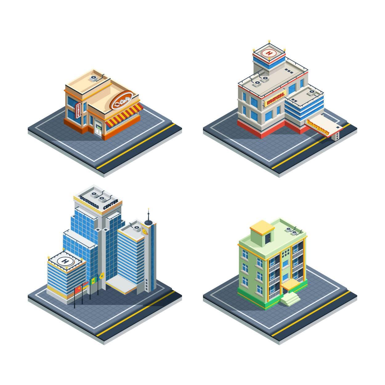 卡通城市建筑 等距建筑 城市卡通 模型设计 立体建筑 时尚元素 现代 时代 地产建筑 3D建筑 城市插画