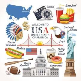 美国旅游扁平化lowpoly创意设计