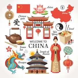 中国旅游扁平化lowpoly创意设计