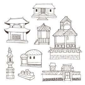 线条化古典建筑矢量设计