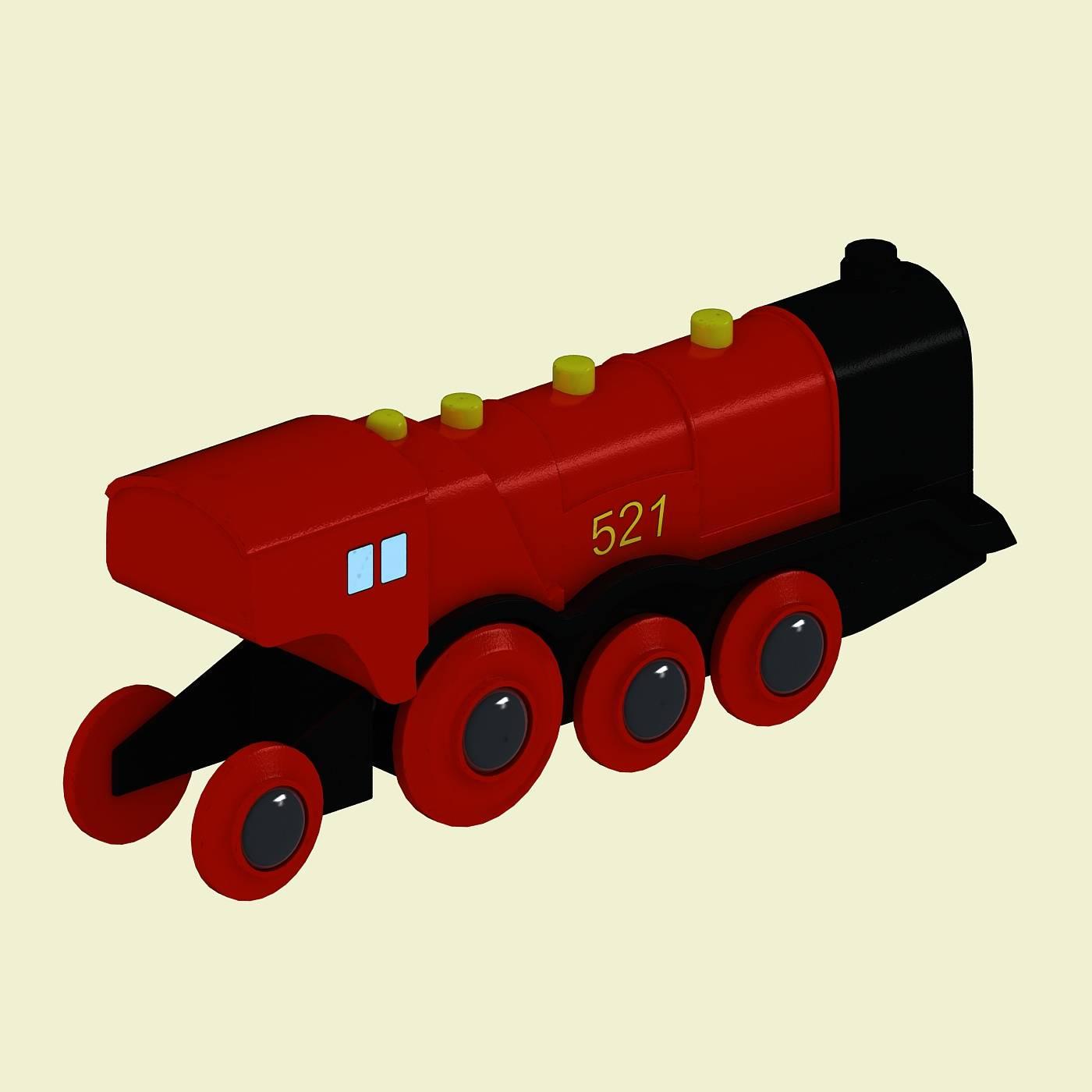 红色玩具火车模型