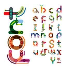 卡通彩色字母设计