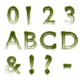 3D立体藤草数字字母创意设计