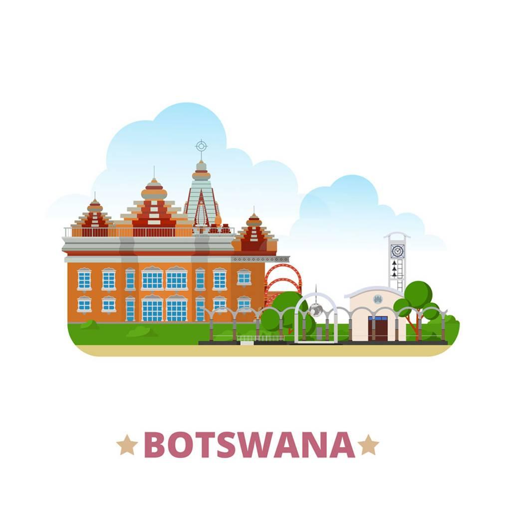 博茨瓦纳扁平化著名地标建筑