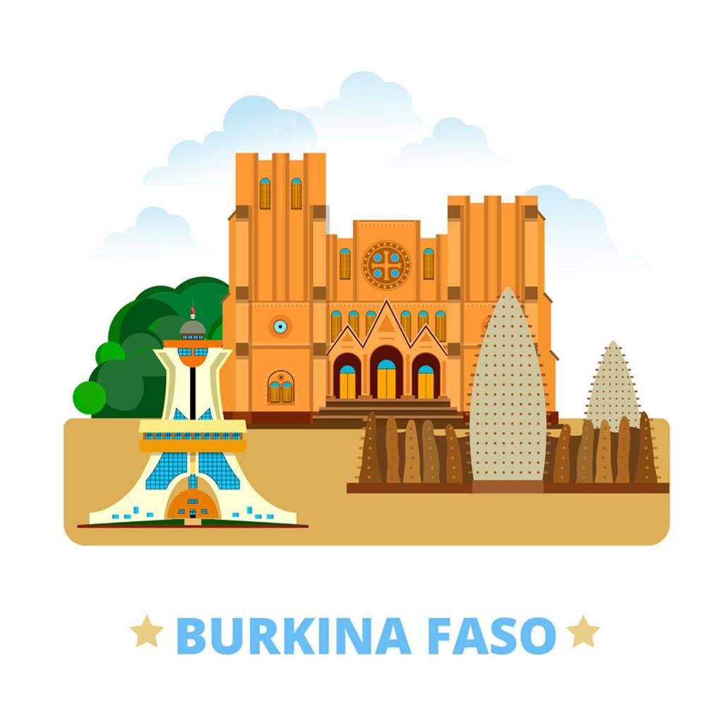 布基纳法索扁平化著名地标建筑