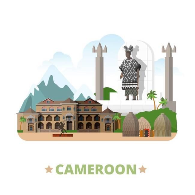 喀麦隆扁平化著名地标建筑