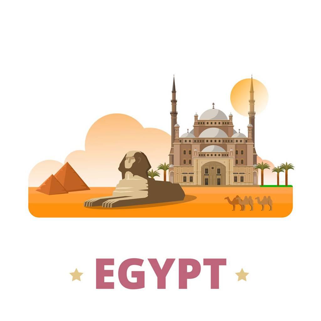 埃及扁平化著名地标建筑