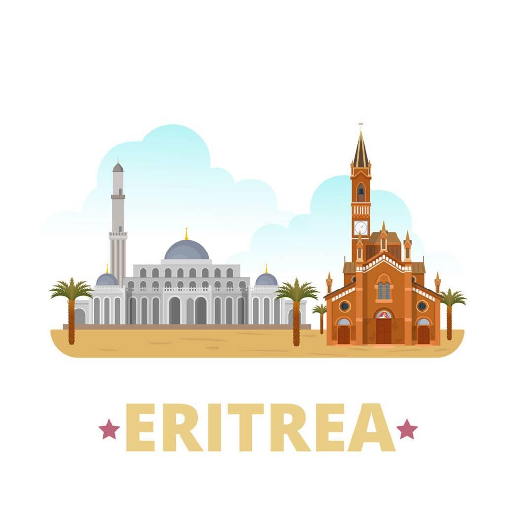 厄立特里亚扁平化著名地标建筑