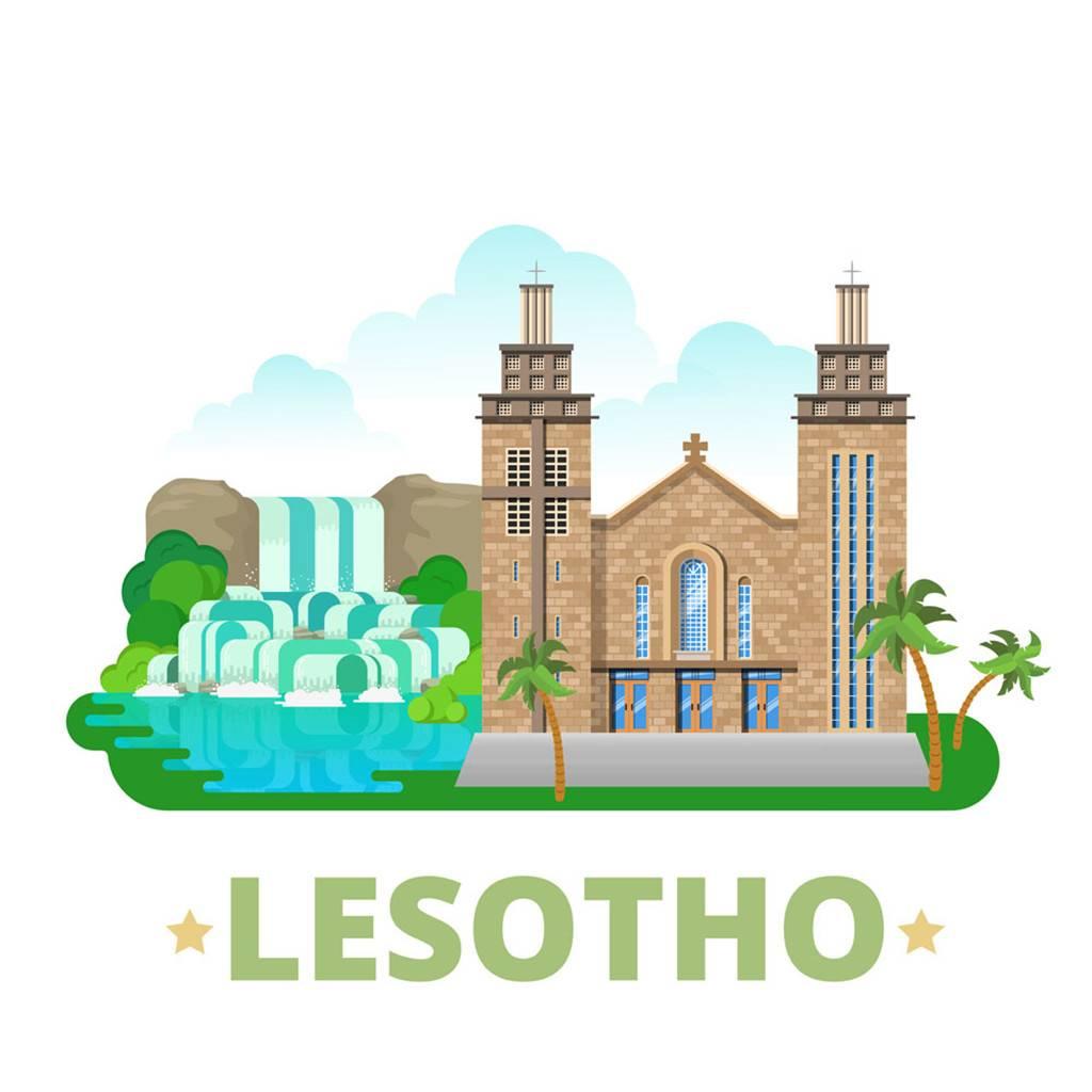 莱索托扁平化著名地标建筑