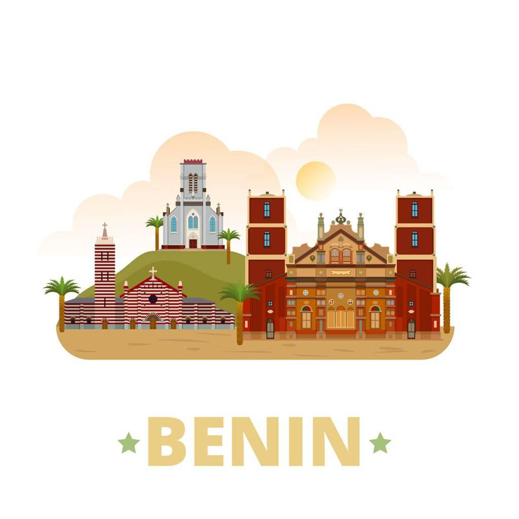 贝宁扁平化著名地标建筑
