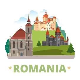 罗马尼亚扁平化著名地标建筑