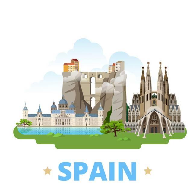 西班牙扁平化著名地标建筑
