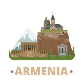 亚美尼亚扁平化著名地标建筑