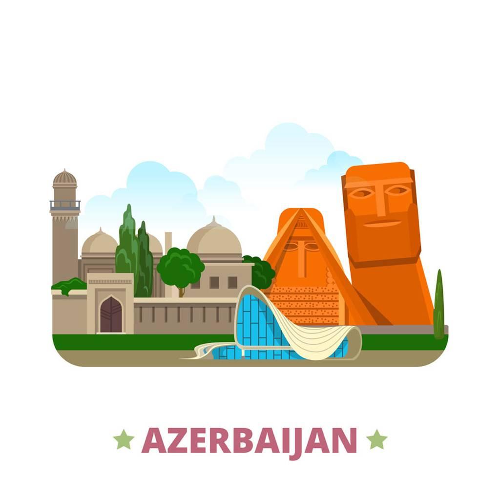 阿塞拜疆扁平化著名地标建筑