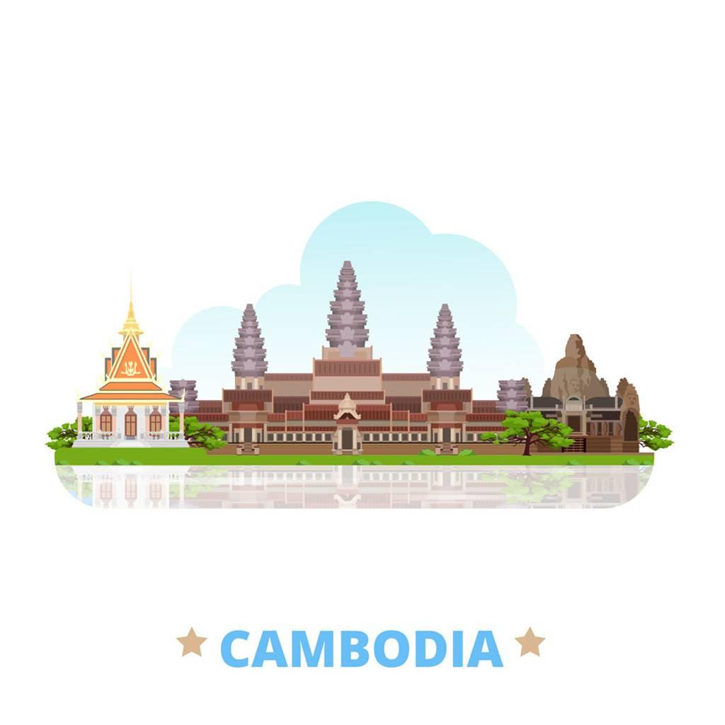 柬埔寨扁平化著名地标建筑