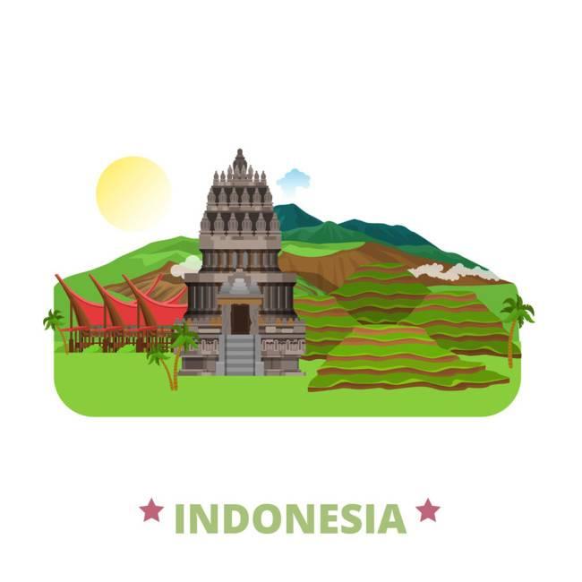 印度尼西亚扁平化著名地标建筑