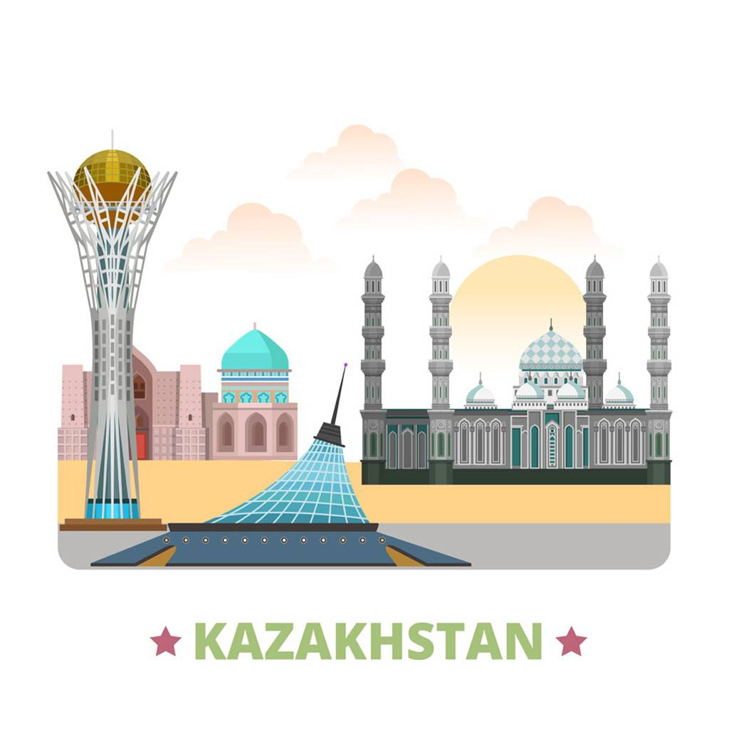 哈萨克斯坦扁平化著名地标建筑