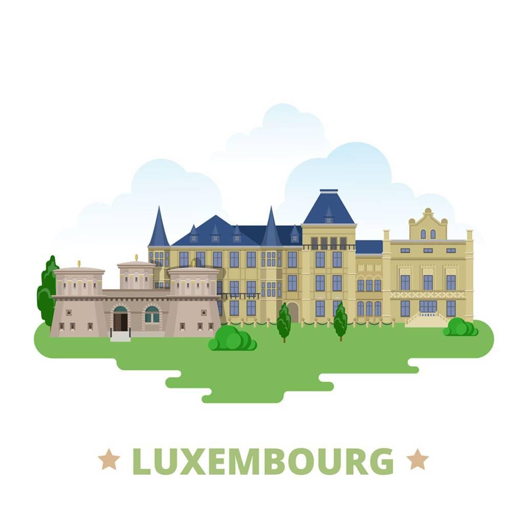 卢森堡扁平化著名地标建筑