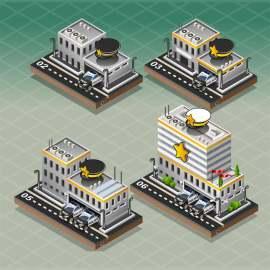3D等轴欧洲建筑