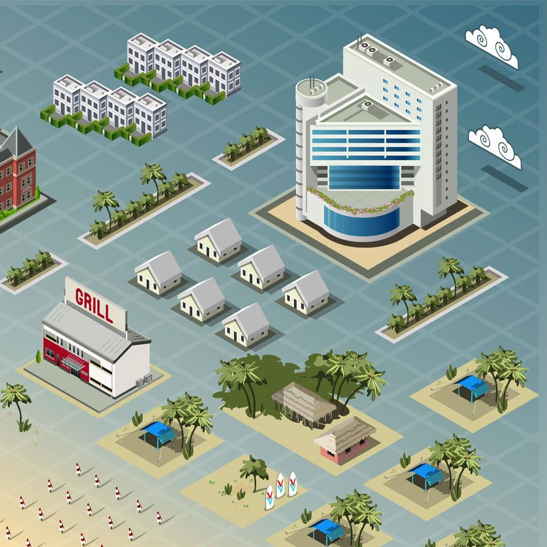 3D等距城市大楼