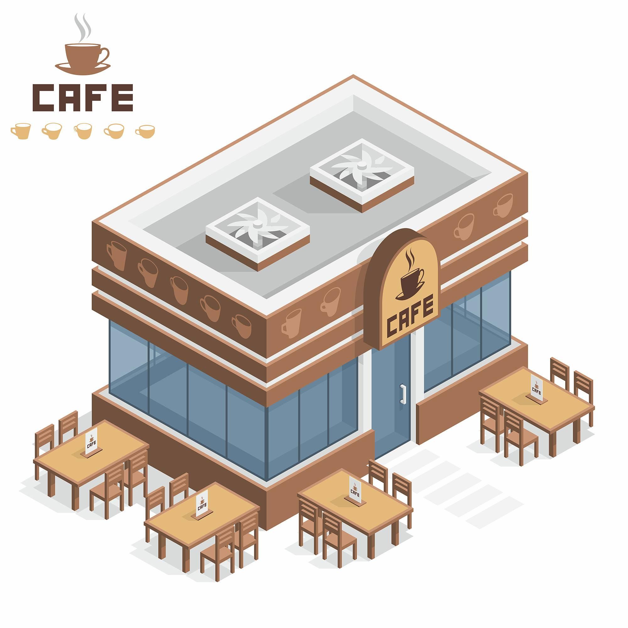 咖啡厅3D扁平化创意设计