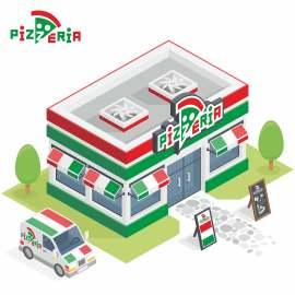披萨店3D扁平化创意设计