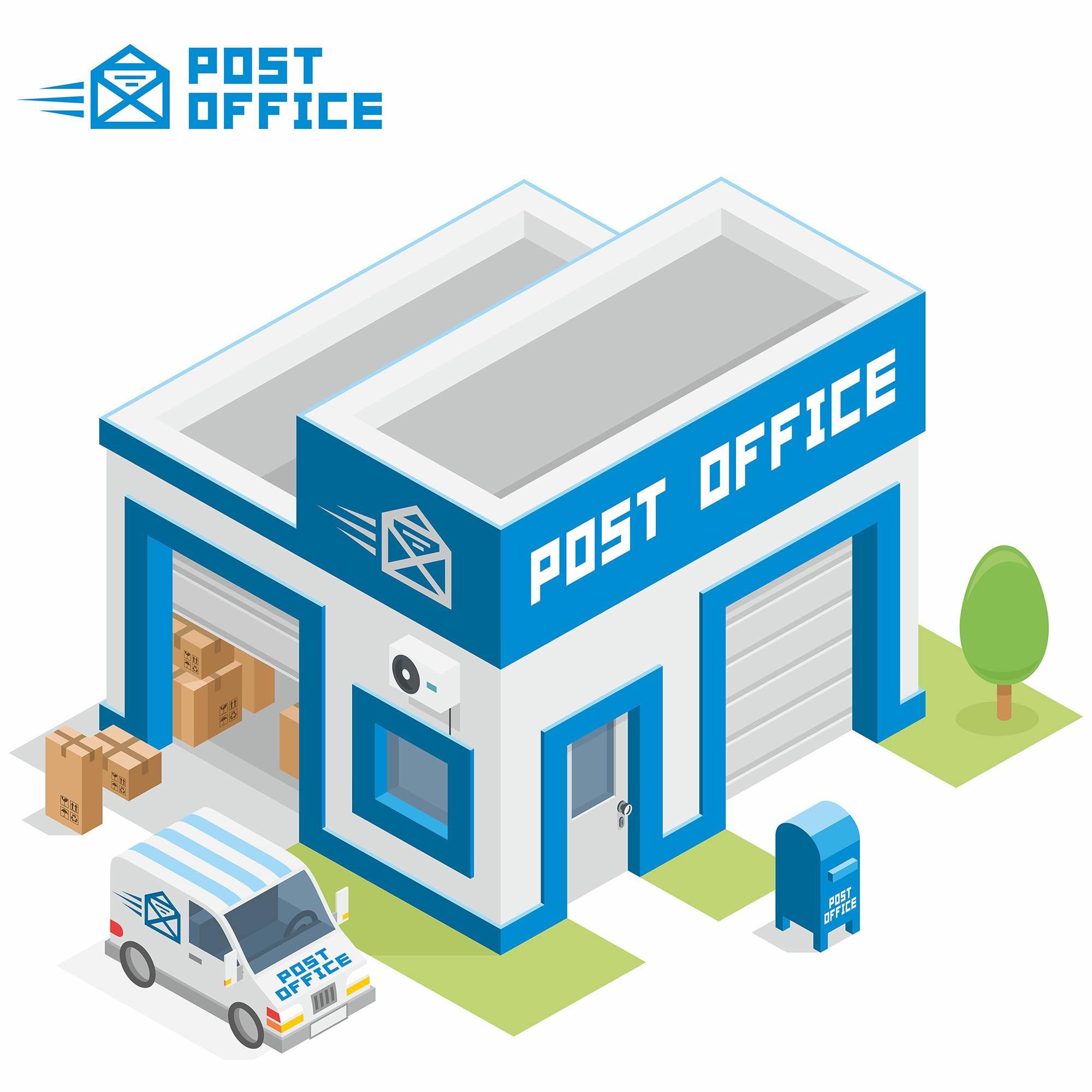邮局3D扁平化创意设计