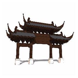 中式 牌坊 古典 斗拱 木制