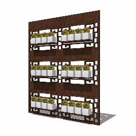 绿化 花架 种植 中式 木质 阳台 造型
