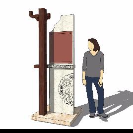 中式 木质 导视牌模型