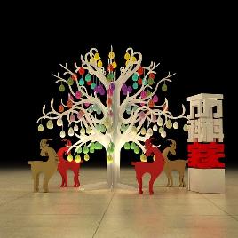 圣诞节 圣诞树 麋鹿 圣诞 模型 万科 美陈 展览展示