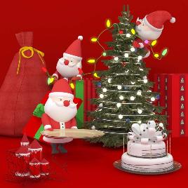 圣诞 礼物 堆头 小品 美陈 商场 圣诞老人 圣诞树