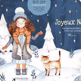 冬季手绘圣诞节礼物女孩小猫花环插画背景