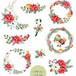 冬季手绘圣诞节礼物花环插画背景