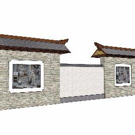 中式 围墙 园林 景观 园区 外立面 文化墙 公园 市政