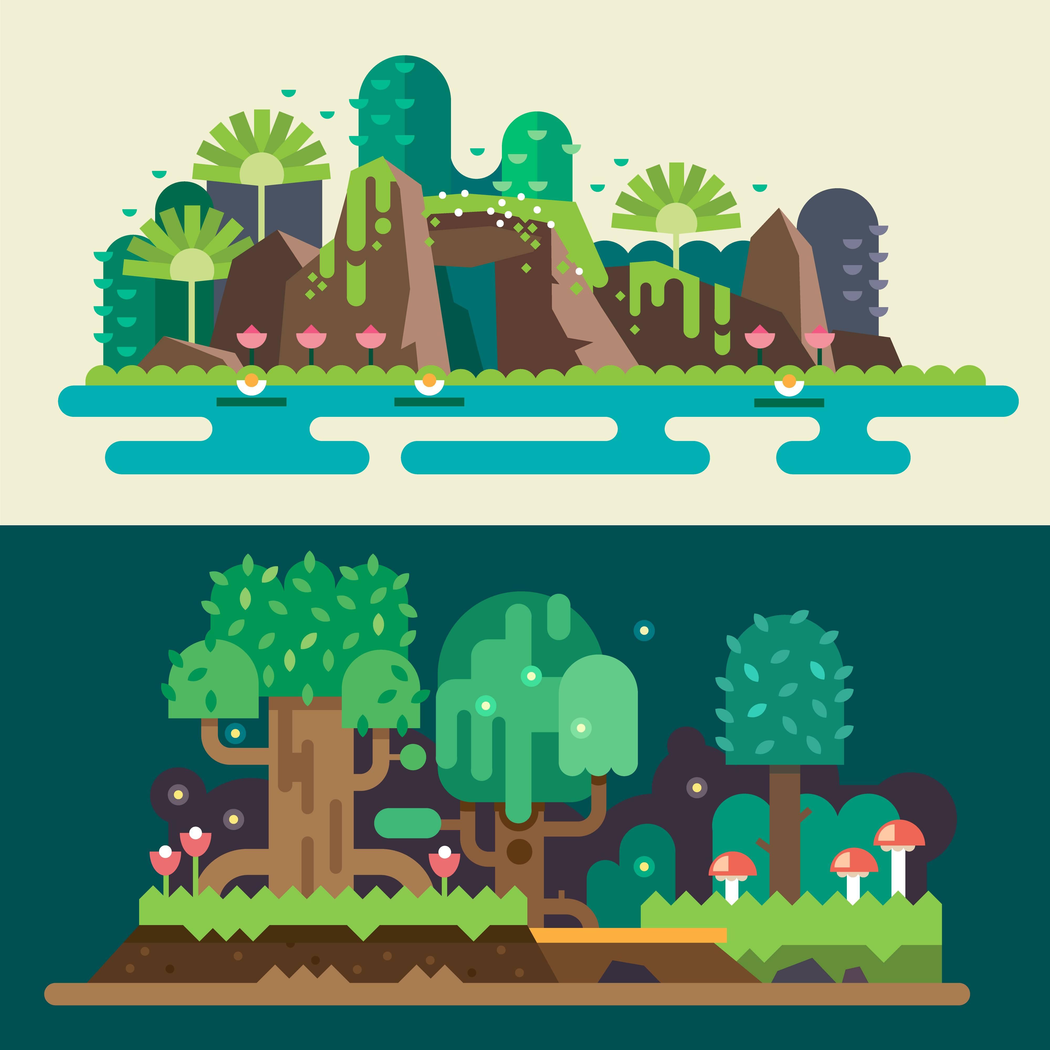 扁平化风景场景设计