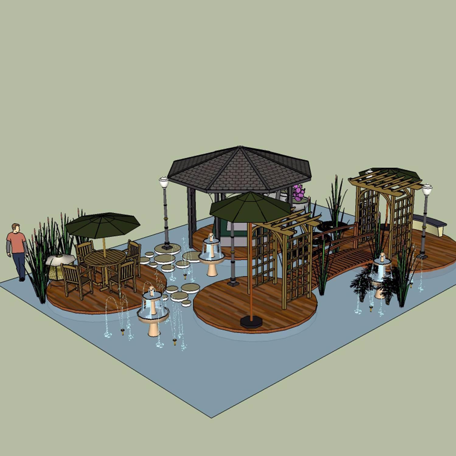 花园景观su模型