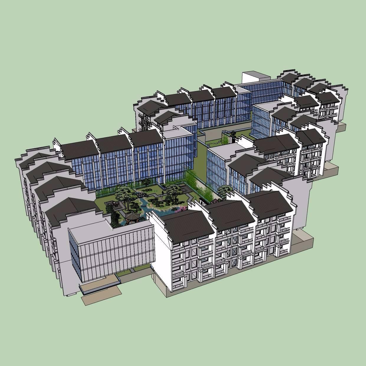 中式风格庭院SU模型设计