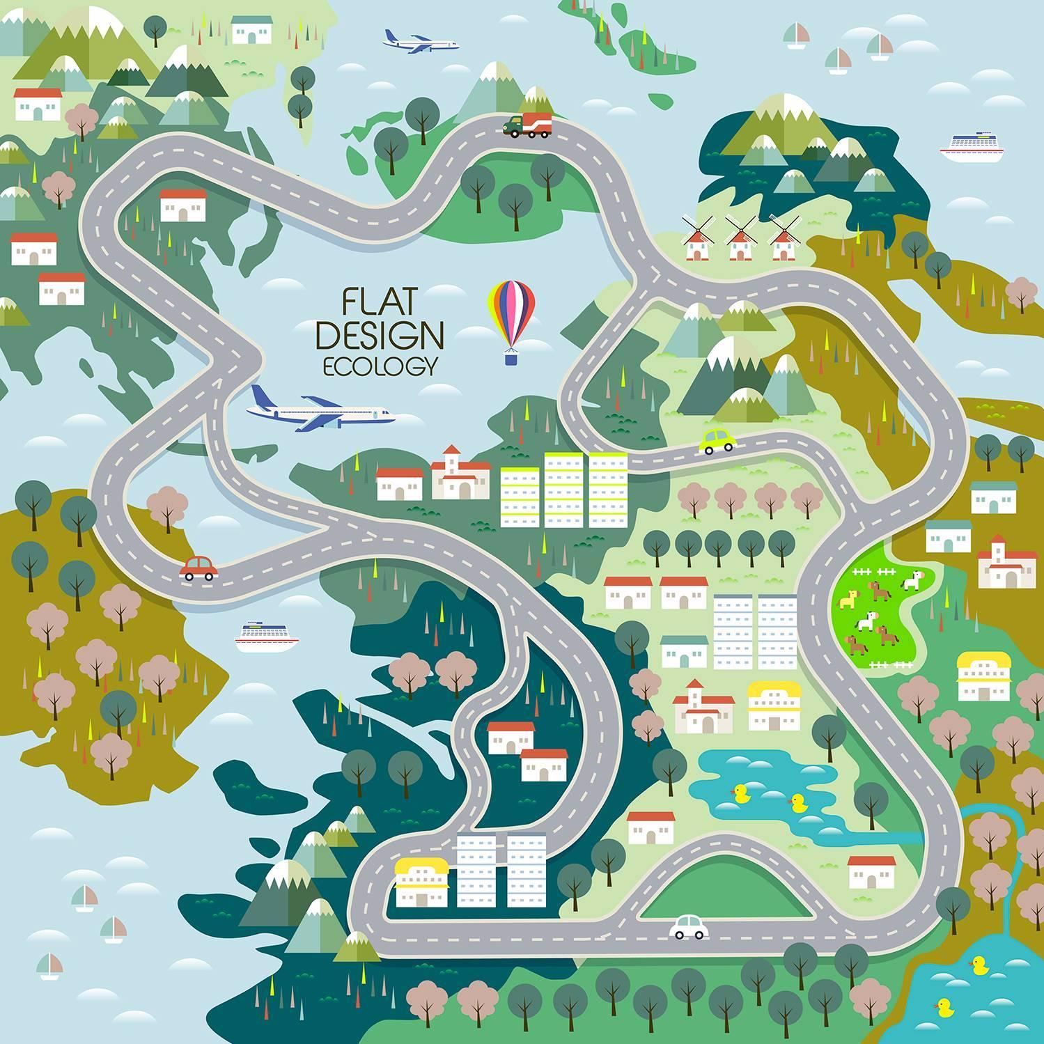 卡通城市线路规划图