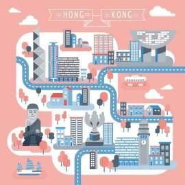香港旅游地图插画矢量素材
