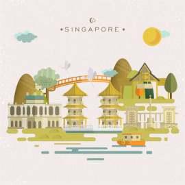 扁平化新加坡地图