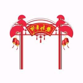 红色中国风简约新年门头地贴