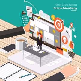 扁平化商务信息卡通设计
