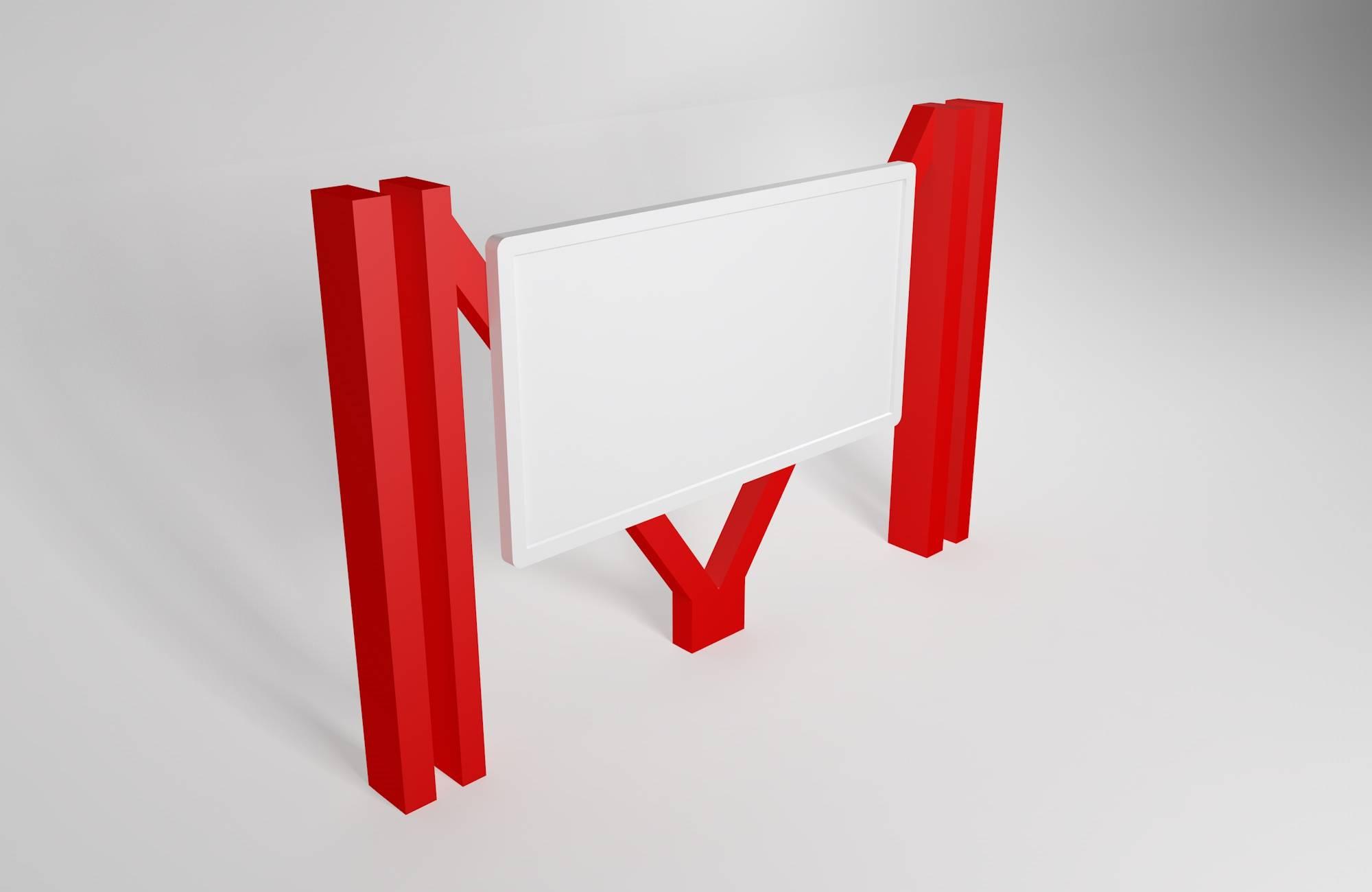 红色异形创意宣传栏设计