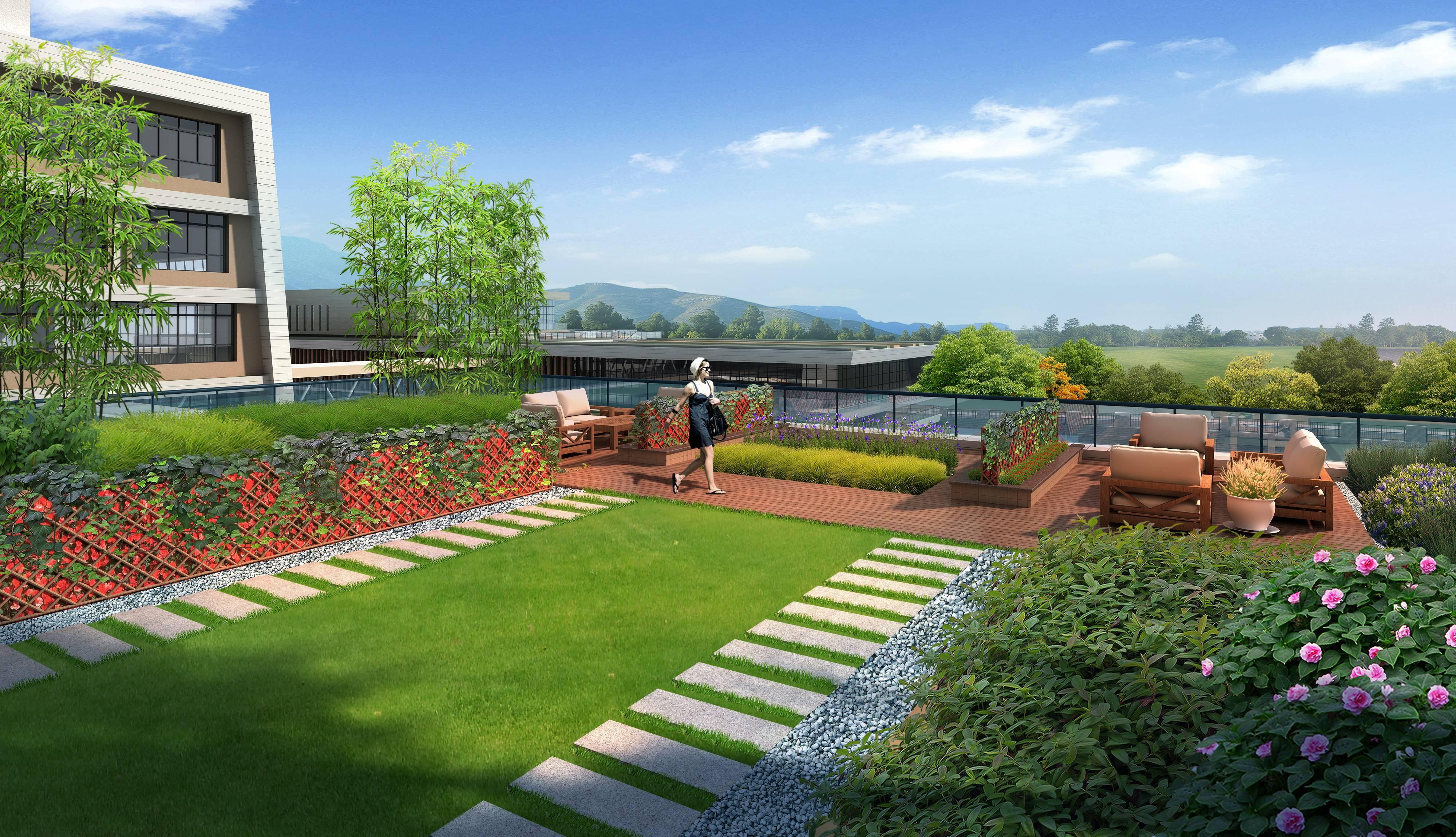 楼顶花园景观psd分层素材