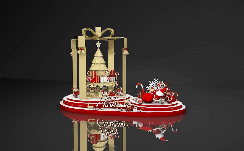 金色圣诞节美陈模型设计_c4d 素材【必然标识网】